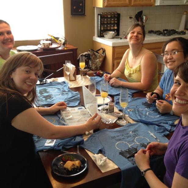 Rhinestoning shirts before our roadtrip to Disneyland...